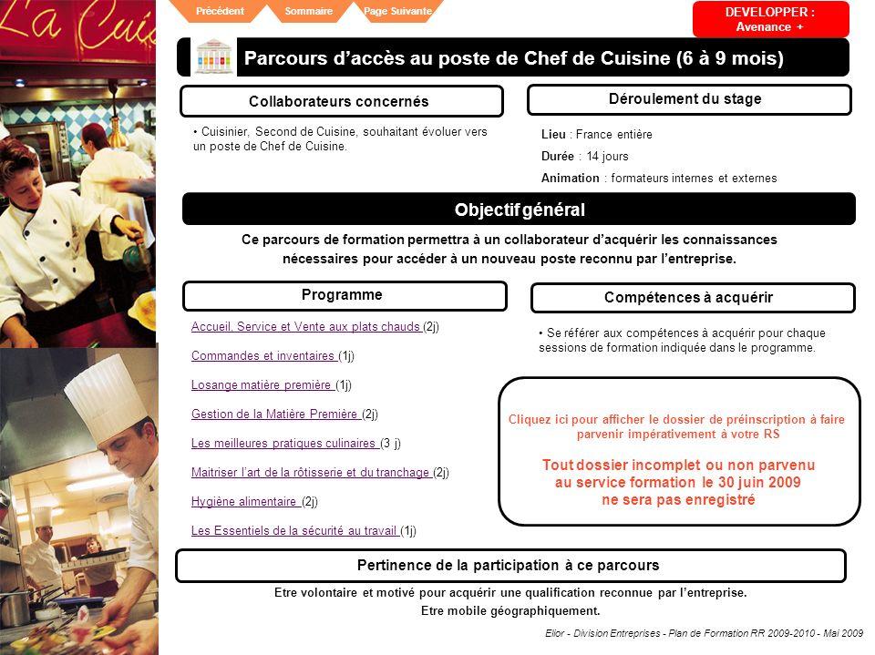 Parcours d'accès au poste de Chef de Cuisine (6 à 9 mois)