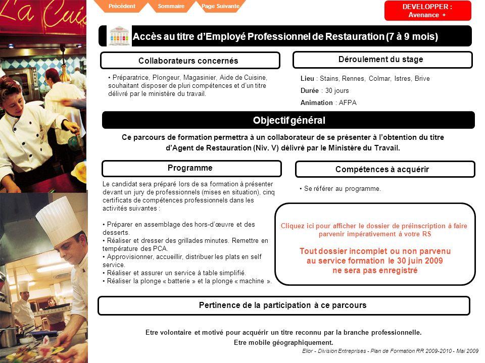Accès au titre d'Employé Professionnel de Restauration (7 à 9 mois)