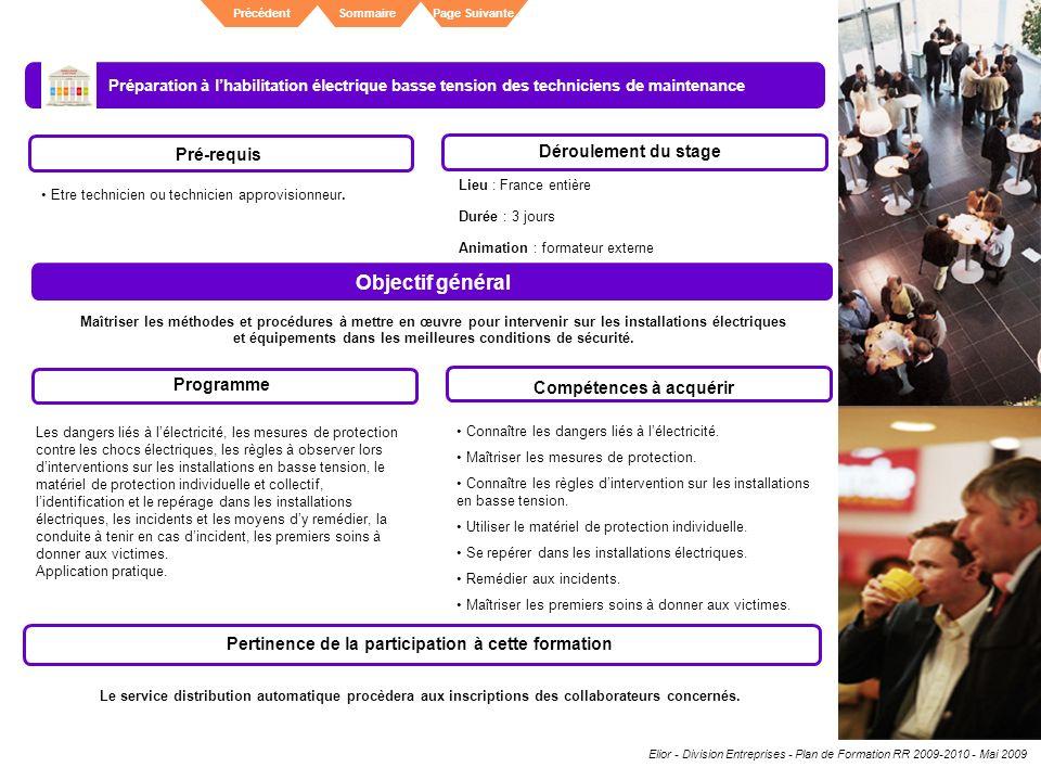 Objectif général Déroulement du stage Pré-requis Programme