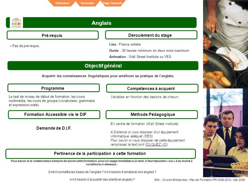 Anglais Objectif général Pré-requis Déroulement du stage Programme