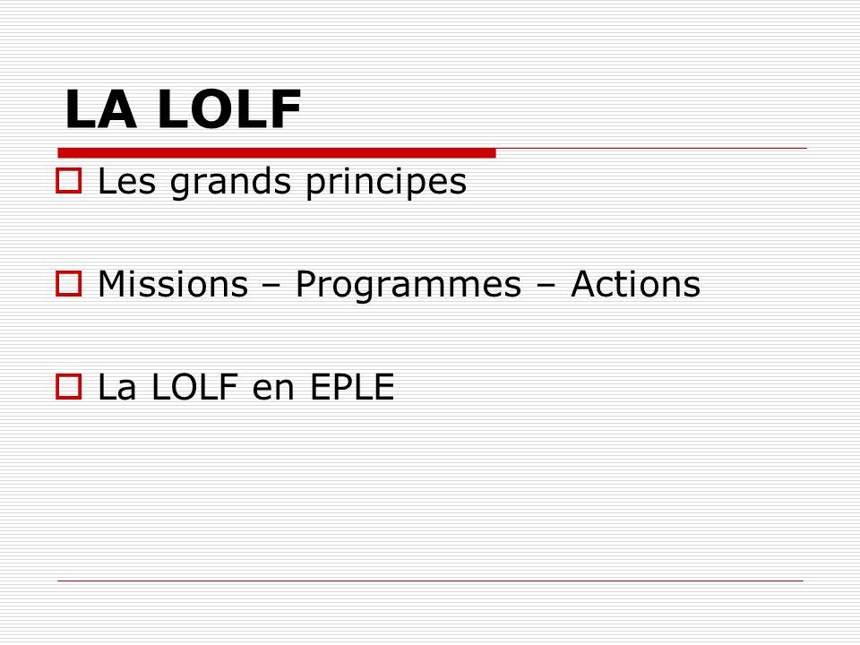LA LOLF Les grands principes Missions – Programmes – Actions