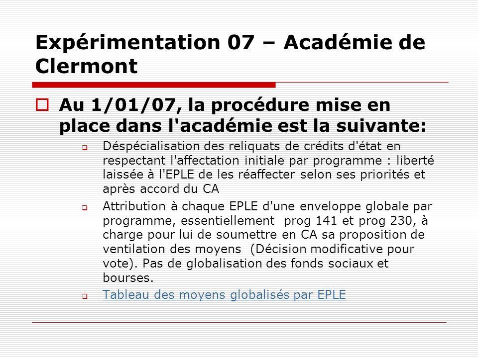Expérimentation 07 – Académie de Clermont
