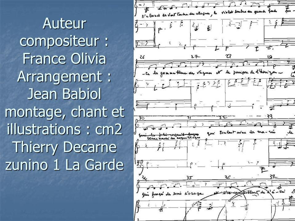 Auteur compositeur : France Olivia Arrangement : Jean Babiol montage, chant et illustrations : cm2 Thierry Decarne zunino 1 La Garde