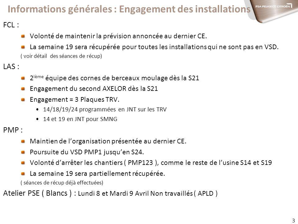 Informations générales : Engagement des installations