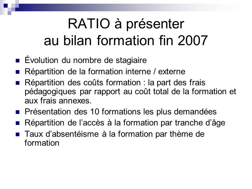 RATIO à présenter au bilan formation fin 2007