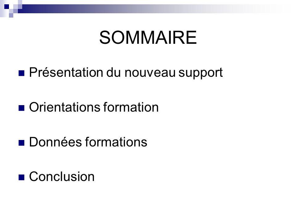 SOMMAIRE Présentation du nouveau support Orientations formation