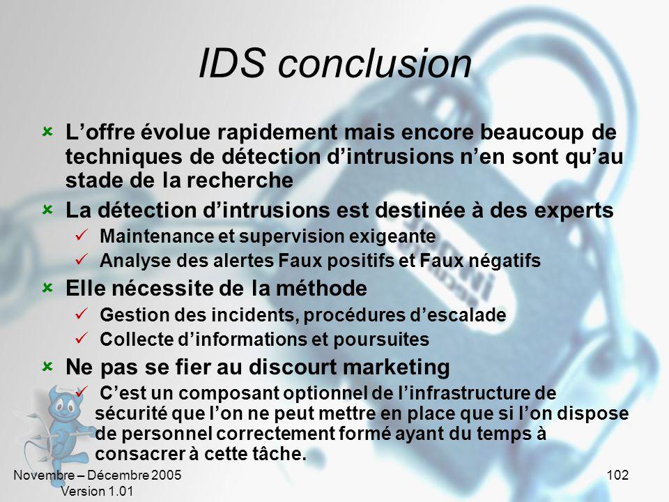IDS conclusion L'offre évolue rapidement mais encore beaucoup de techniques de détection d'intrusions n'en sont qu'au stade de la recherche.