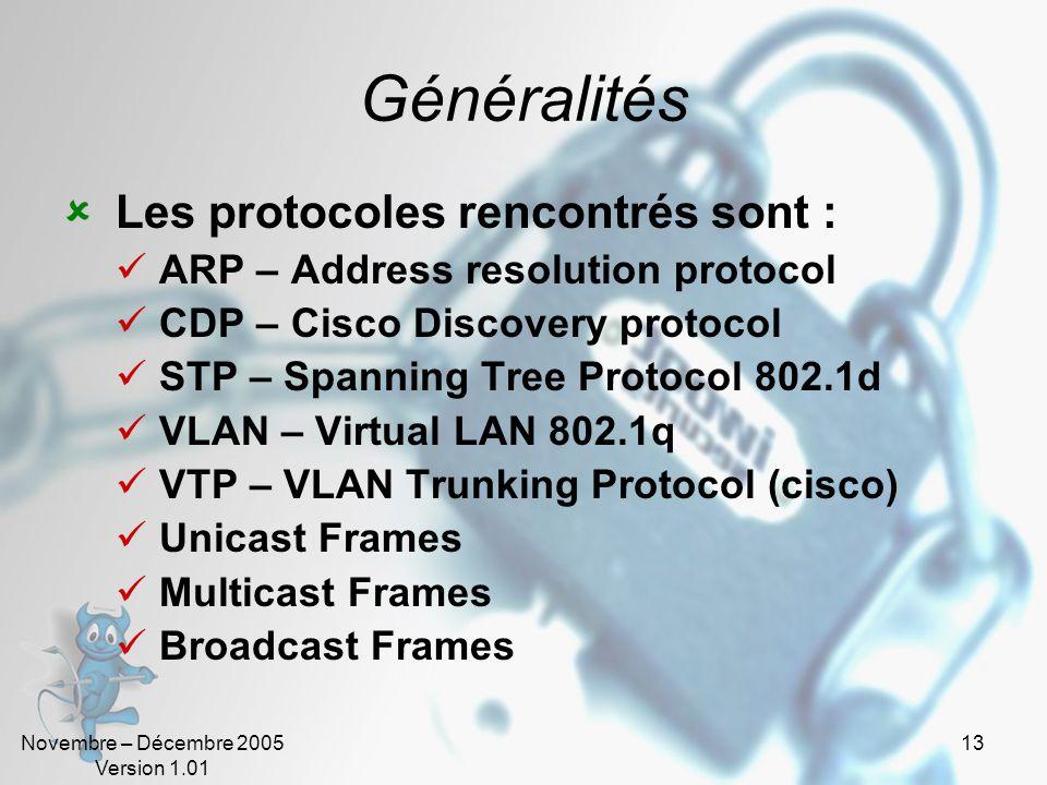 Généralités Les protocoles rencontrés sont :