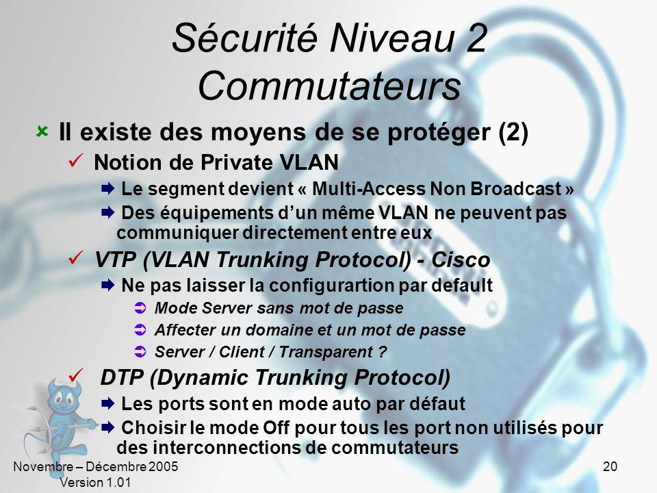 Sécurité Niveau 2 Commutateurs