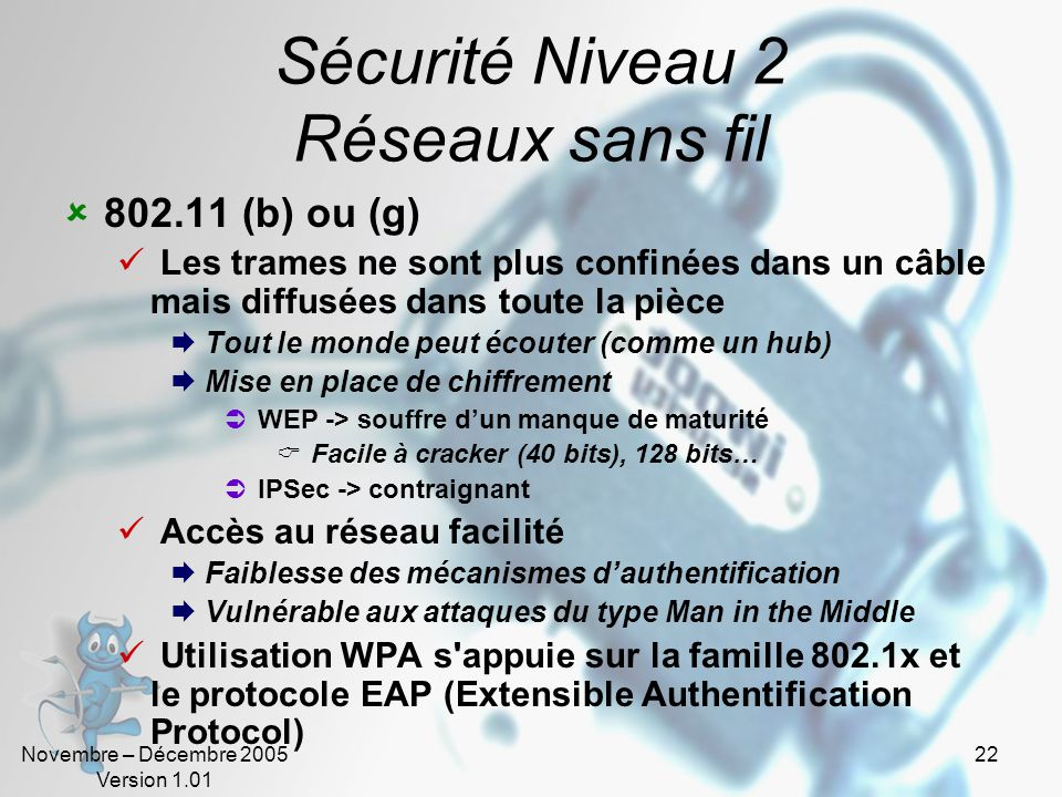 Sécurité Niveau 2 Réseaux sans fil