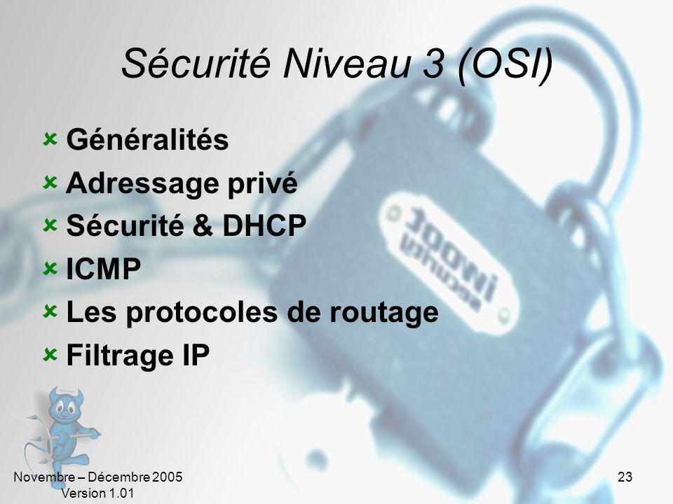 Sécurité Niveau 3 (OSI) Généralités Adressage privé Sécurité & DHCP