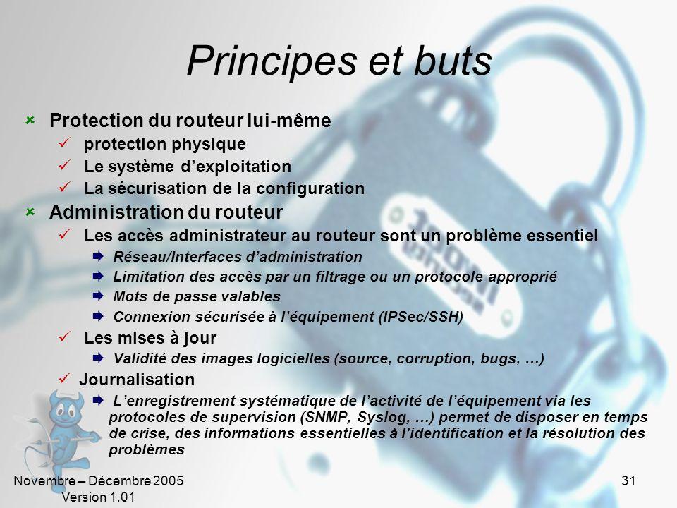 Principes et buts Protection du routeur lui-même