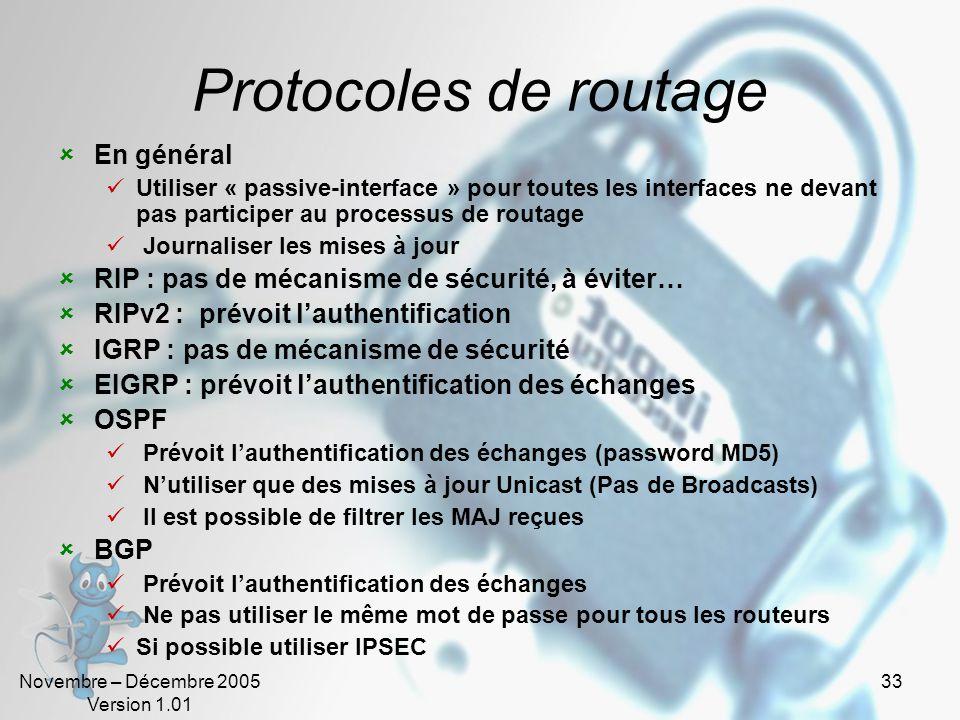 Protocoles de routage En général