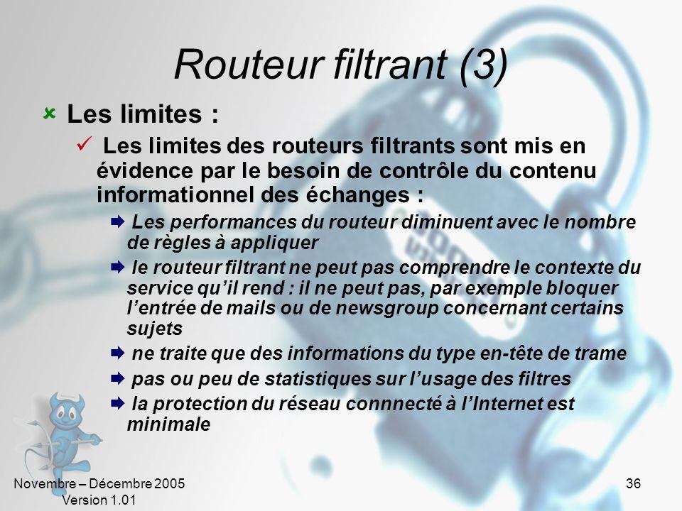 Routeur filtrant (3) Les limites :