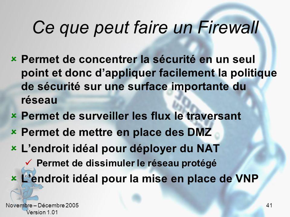 Ce que peut faire un Firewall