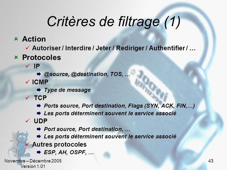 Critères de filtrage (1)