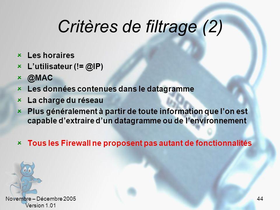 Critères de filtrage (2)