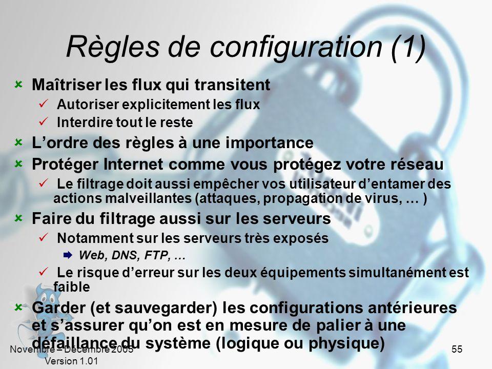Règles de configuration (1)
