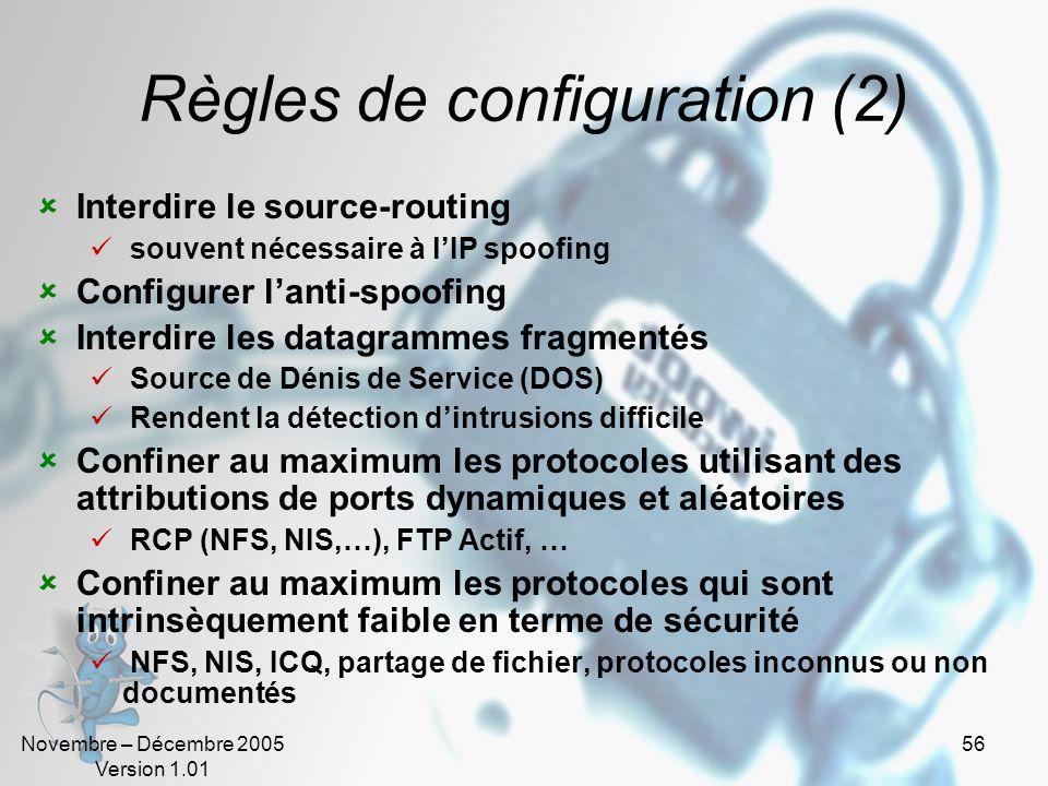Règles de configuration (2)