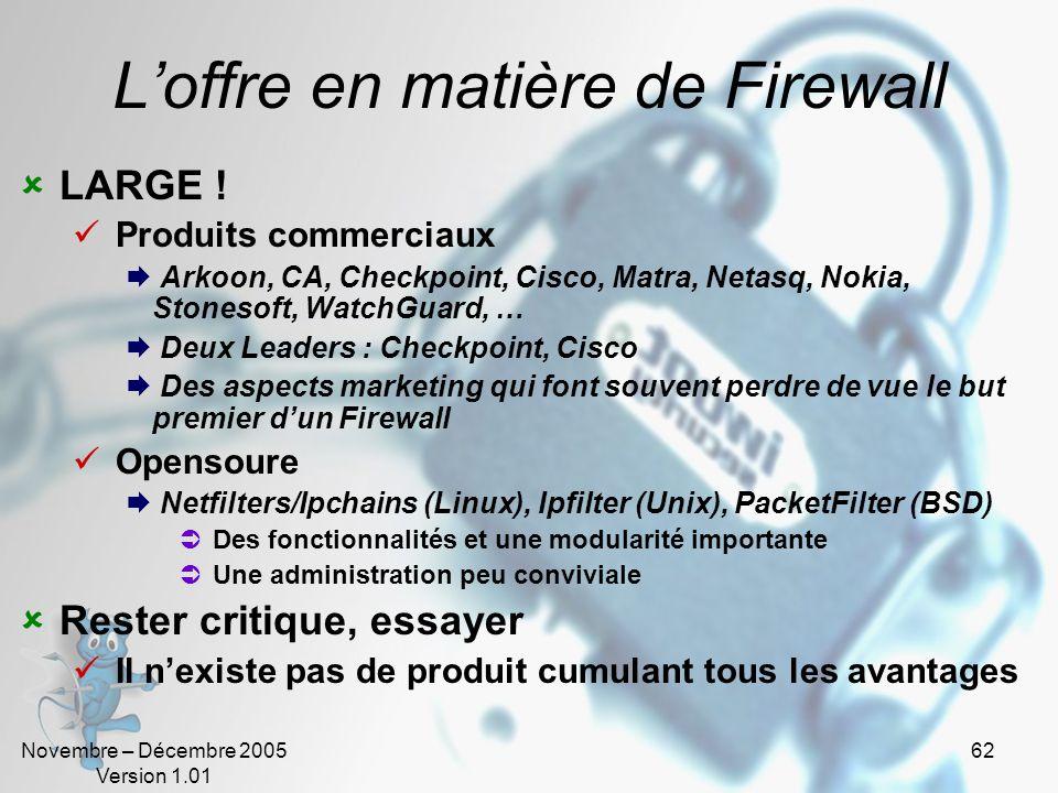L'offre en matière de Firewall
