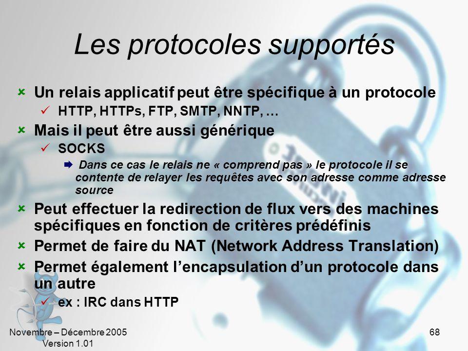 Les protocoles supportés