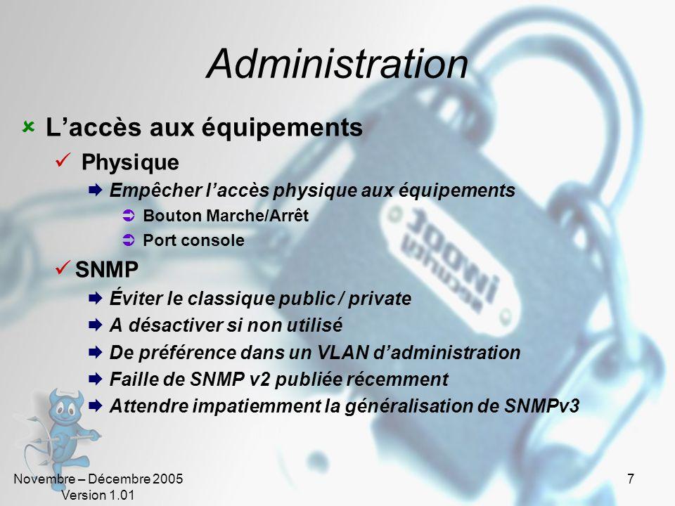 Administration L'accès aux équipements Physique SNMP