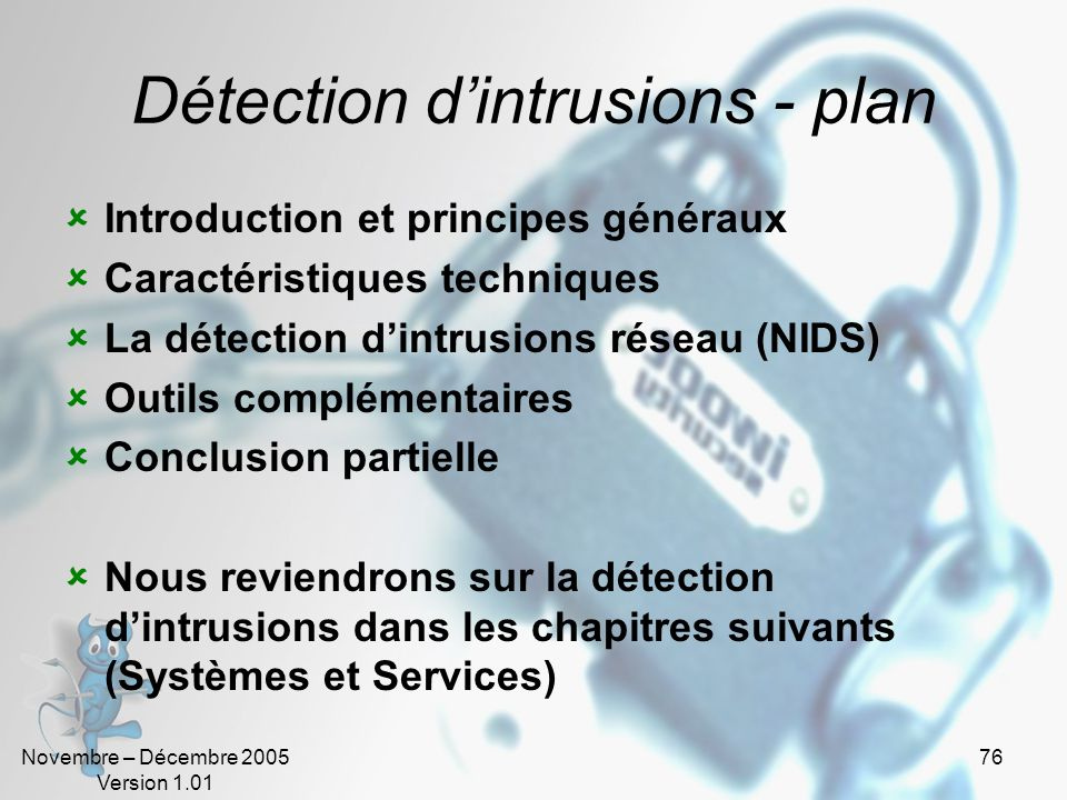 Détection d'intrusions - plan