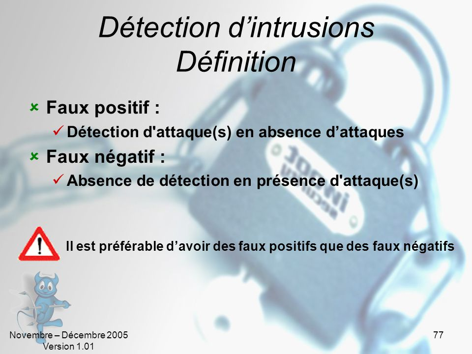 Détection d'intrusions Définition