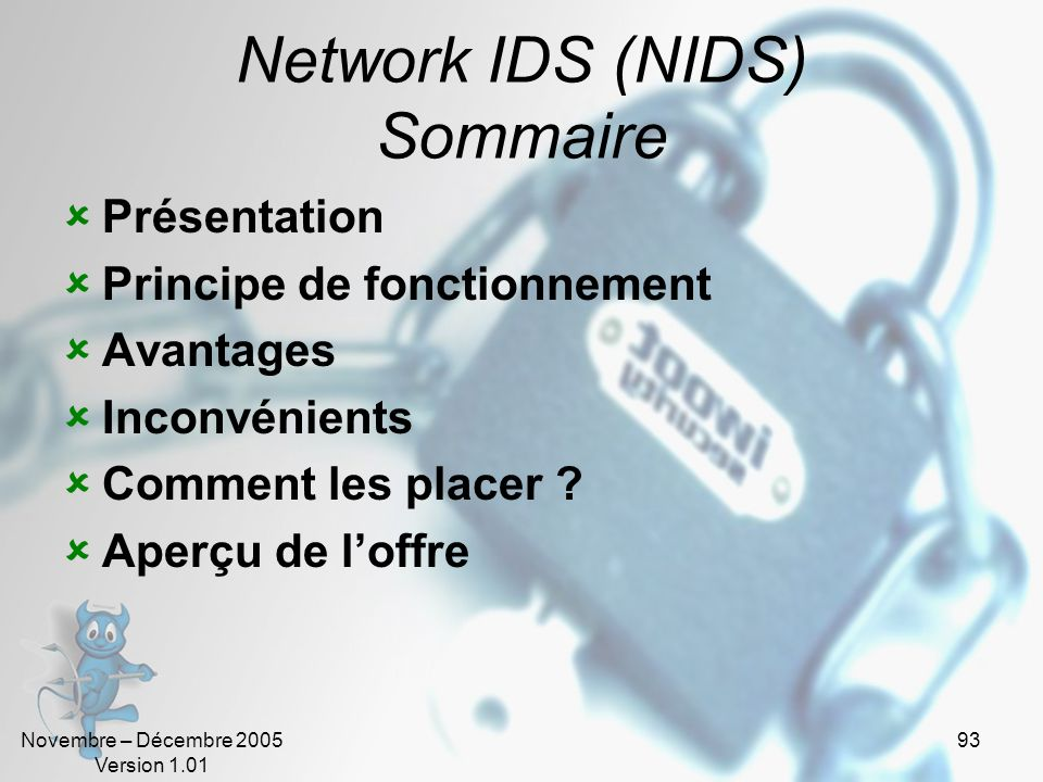 Network IDS (NIDS) Sommaire