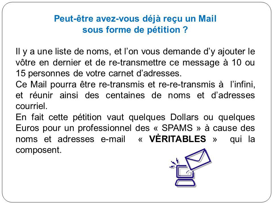 Peut-être avez-vous déjà reçu un Mail