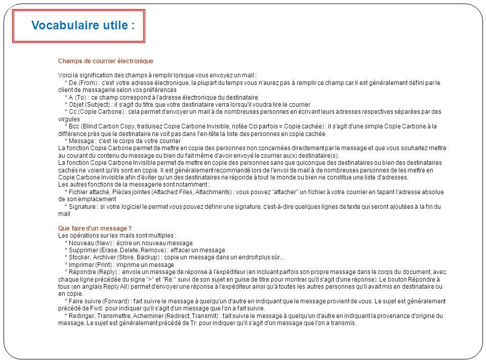 Vocabulaire utile : Champs de courrier électronique