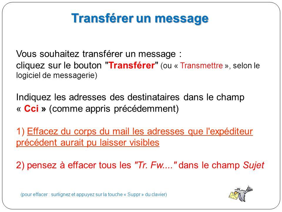 Transférer un message Vous souhaitez transférer un message :