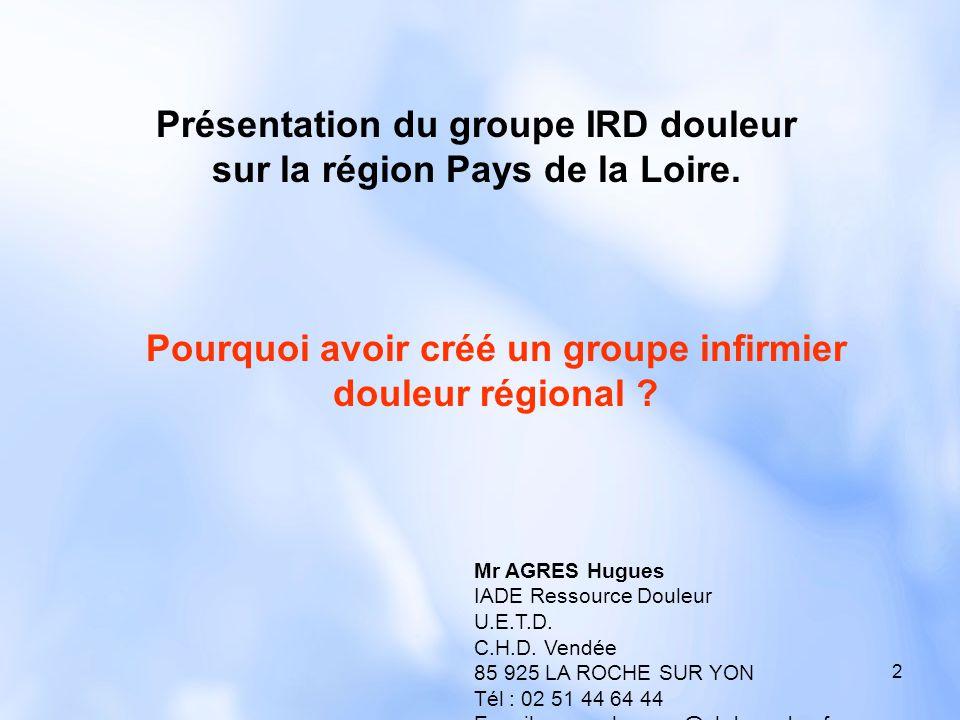 Présentation du groupe IRD douleur sur la région Pays de la Loire.