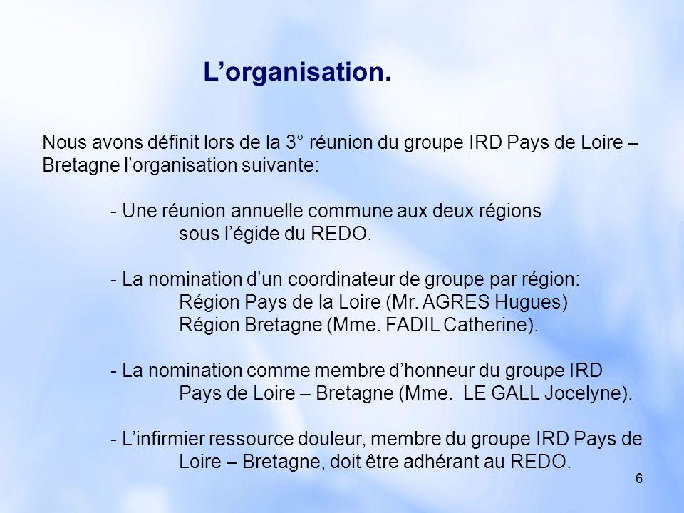 L'organisation. Nous avons définit lors de la 3° réunion du groupe IRD Pays de Loire – Bretagne l'organisation suivante:
