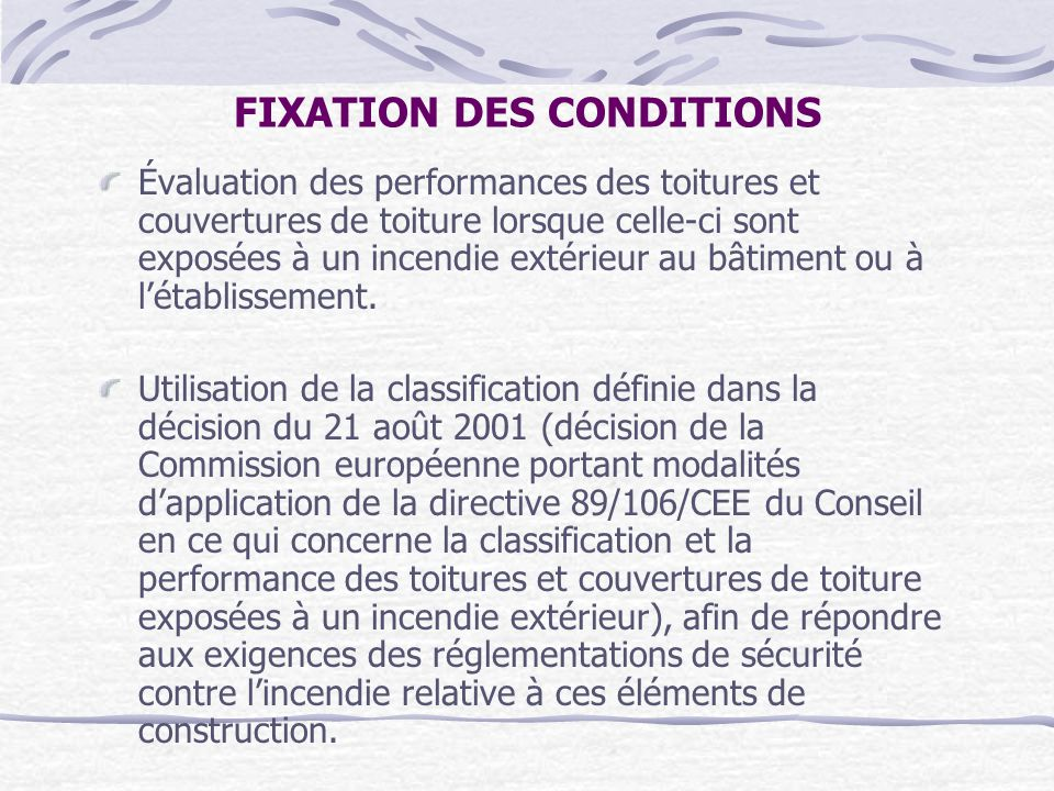FIXATION DES CONDITIONS