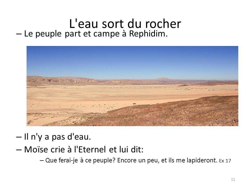 L eau sort du rocher Le peuple part et campe à Rephidim.