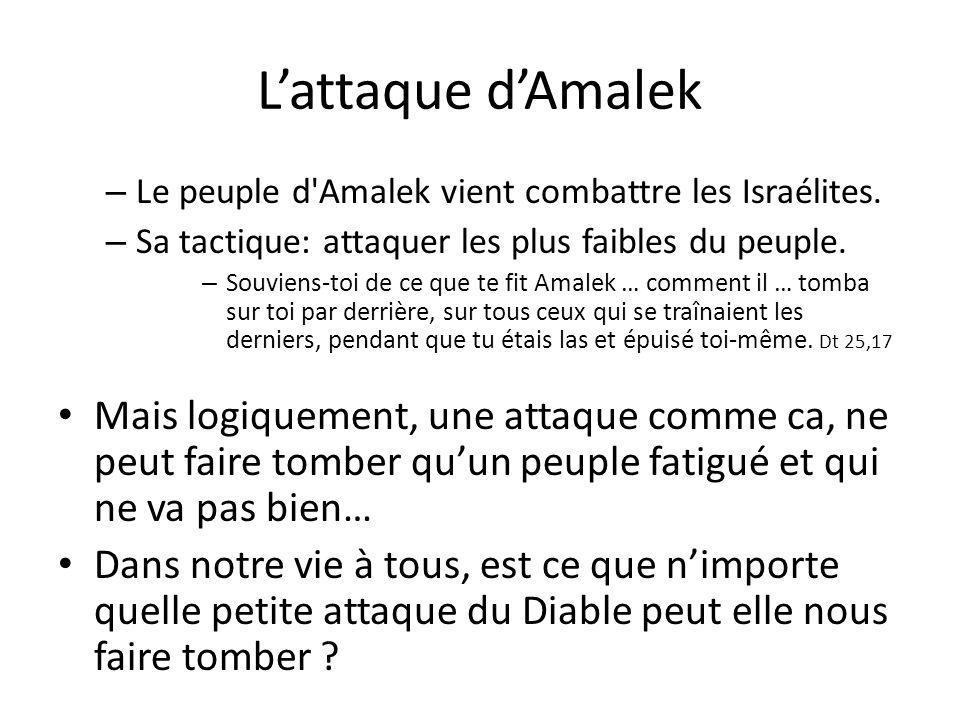 L'attaque d'Amalek Le peuple d Amalek vient combattre les Israélites. Sa tactique: attaquer les plus faibles du peuple.