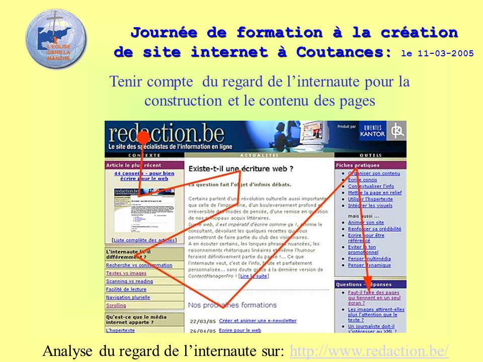 Analyse du regard de l'internaute sur: http://www.redaction.be/