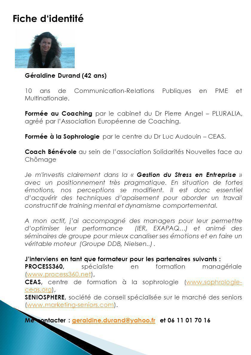 Fiche d'identité Géraldine Durand (42 ans)