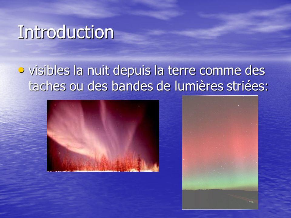 Introduction visibles la nuit depuis la terre comme des taches ou des bandes de lumières striées: