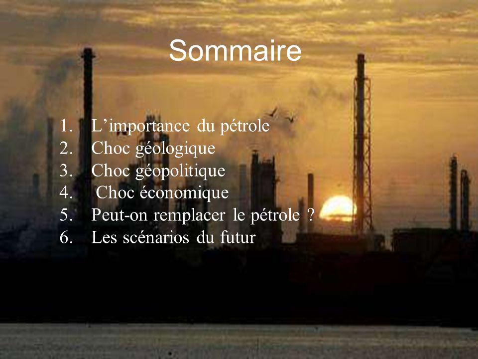 Sommaire L'importance du pétrole Choc géologique Choc géopolitique