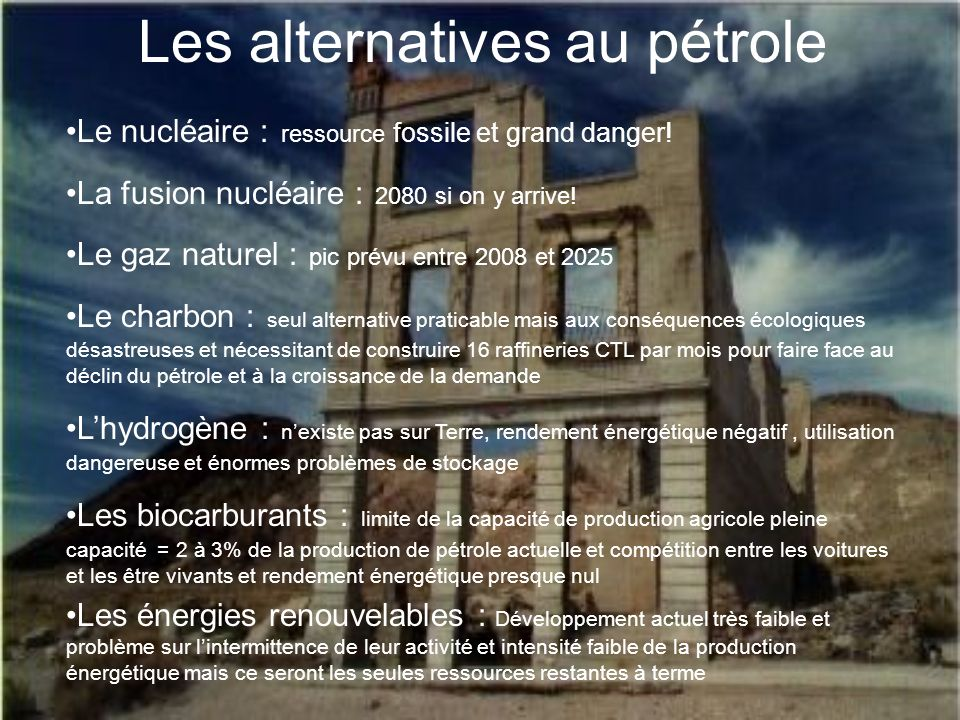 Les alternatives au pétrole