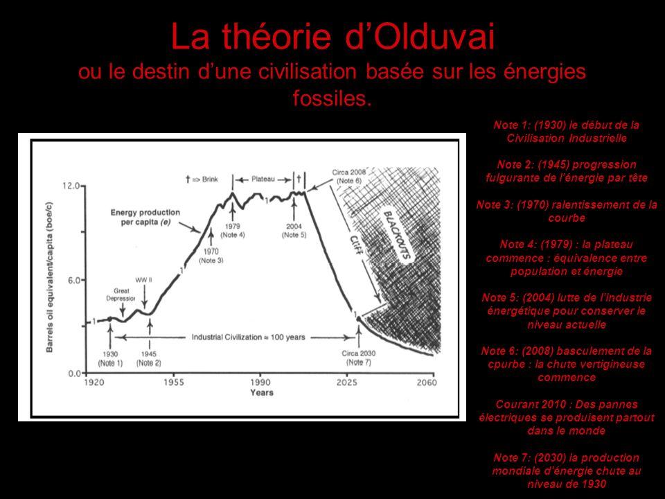 La théorie d'Olduvai ou le destin d'une civilisation basée sur les énergies fossiles.