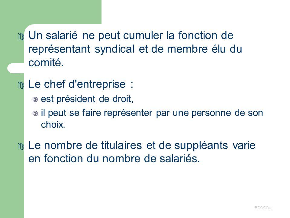 Un salarié ne peut cumuler la fonction de représentant syndical et de membre élu du comité.