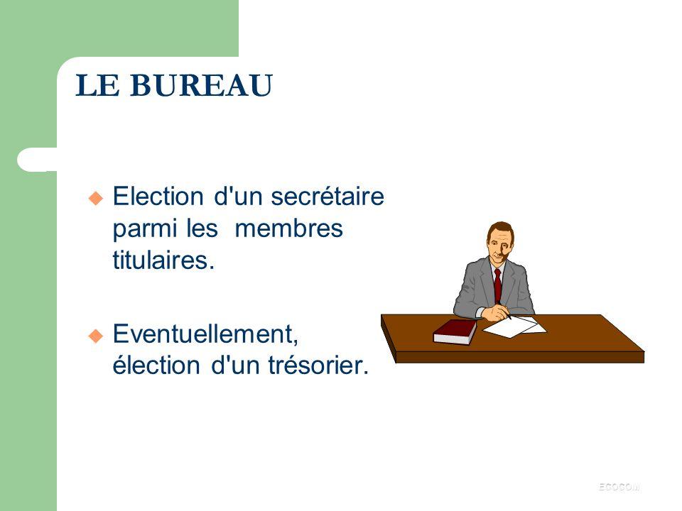 LE BUREAU Election d un secrétaire parmi les membres titulaires.