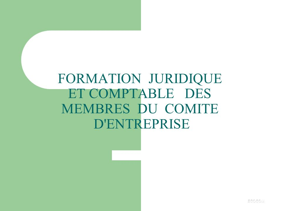 FORMATION JURIDIQUE ET COMPTABLE DES MEMBRES DU COMITE D ENTREPRISE
