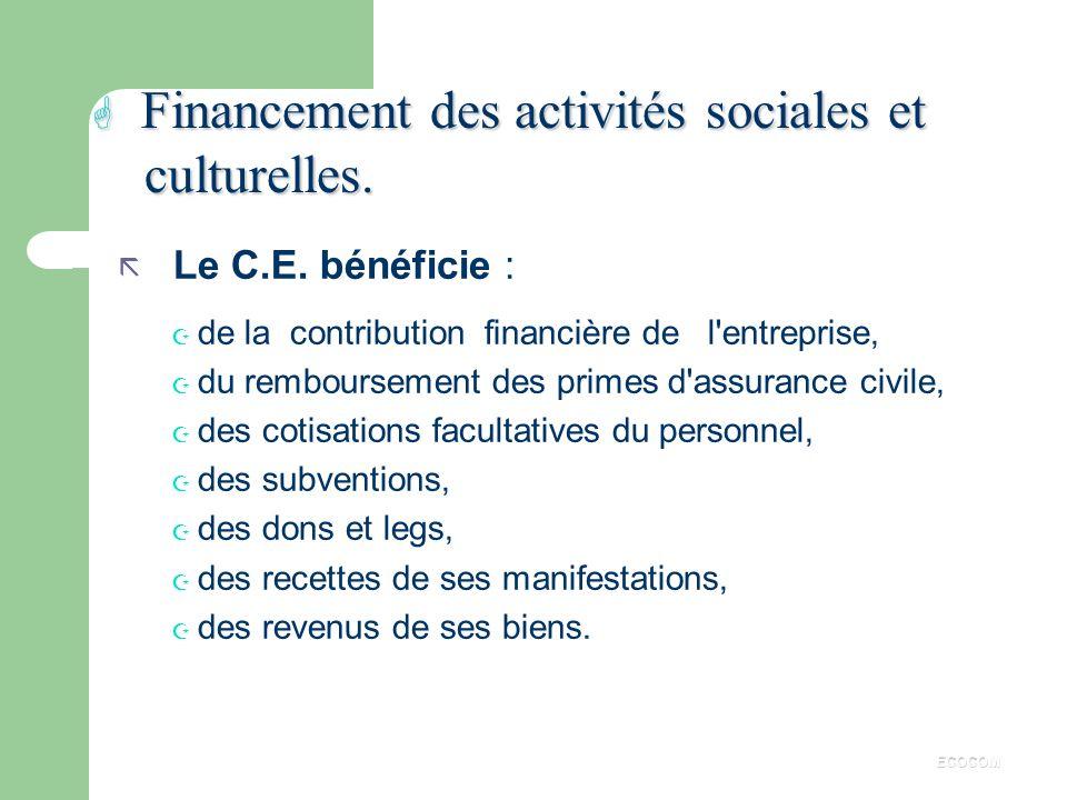 Financement des activités sociales et culturelles.