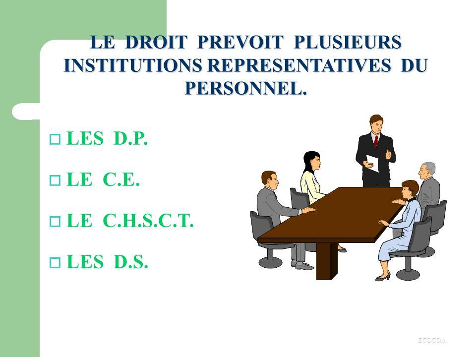 LE DROIT PREVOIT PLUSIEURS INSTITUTIONS REPRESENTATIVES DU PERSONNEL.