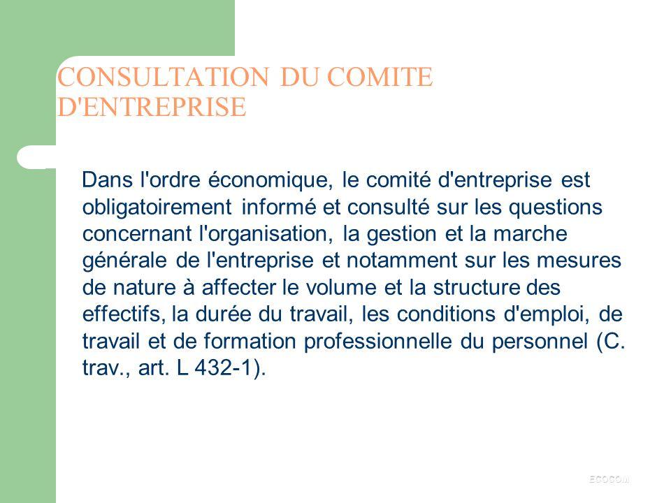 CONSULTATION DU COMITE D ENTREPRISE