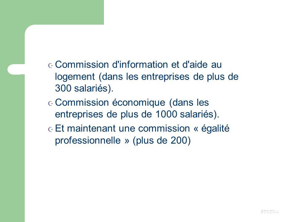 Commission économique (dans les entreprises de plus de 1000 salariés).